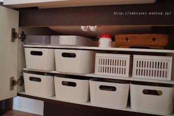 イケアのシンプルなボックスに収納。こちらのブロガーさんのご家庭では、父・母・子供とそれぞれボックスを分けて小物を収納しているそうです。
