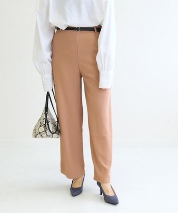 春らしい、白トップス×ピンクベージュのパンツスタイルに、紺色のパンプスを合わせたレディライクコーデ。淡いカラーでまとめたスタイリングの足元に、ネイビーを持ってくることで引き締まります。パイソン柄のバッグと一緒にクールなスパイスを。