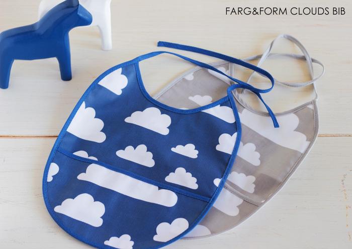 スウェーデン発の人気ブランド「FARG&FORM(フェルグ&フォルム)」の雲柄のスタイ。食べこぼしや飲みこぼし受けポケットが付いているので安心して食事タイムを過ごすことができます。スタイは汚れやすいものなので、色違いでプレゼントしてもGOODですね。