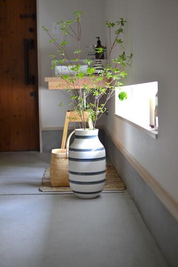 KAHLER(ケーラー)のフラワーベース、オマジオに生けた「ドウダンツツジ」です。  ずっしりと重量感のある床置きの花瓶なので、長さのある「ドウダンツツジ」でも安心して入れられます。高さがあるので、本物の木がそこにあるかのような錯覚を覚えますね。
