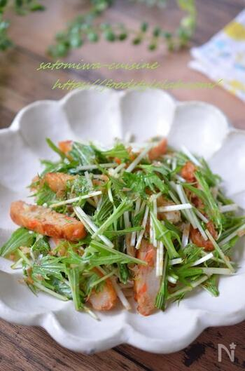 水菜だけだと淡白になりがちですが、さつま揚げやごま油の風味が加わることで、おつまみにぴったりのサラダに!カットした水菜と焼いたさつま揚げを合わせて、味付けしたら出来上がり。簡単で健康的なおつまみです。