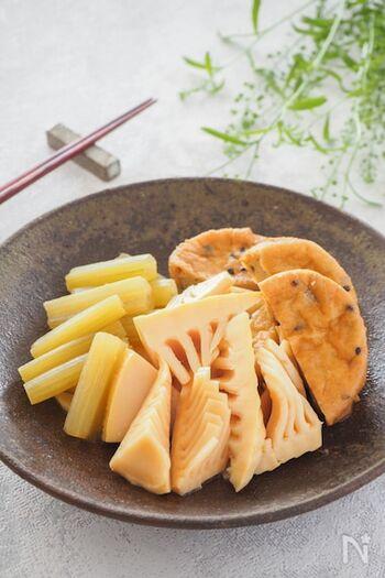 上品な味わいの煮物は、ご飯にも日本酒にもぴったり◎味や食感の異なる3種類の食材を合わせています。煮た後に少し時間をおくと、味が染み込んで美味しく仕上がりますよ。