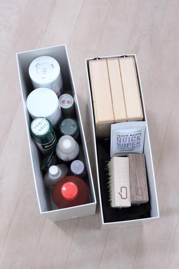 収納ケースは統一すると見栄えがさらに良くなります。靴収納にファイルボックスを使う場合は、ファイルボックスで統一するとスマート。  シューケア用品や雨具などもファイルボックスを使って収納してみましょう。