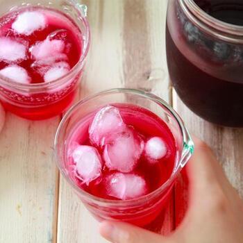 暑くなる時期に向けて沢山つくっておきたい赤しそジュース。煮込んだしそにお酢を入れると、まるで理科の実験のようにパーッとピンク色に変わる姿は大人でも楽しい気分に♪元気になるジュースを味わいましょう。