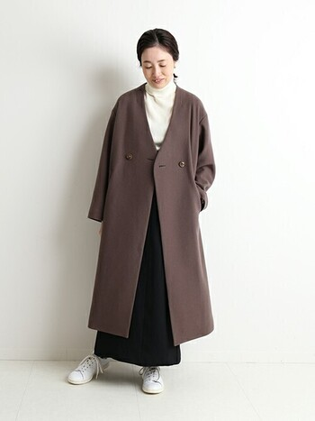 カラー別「ロングタイトスカート」の冬コーデ。季節感あるレディな着こなし