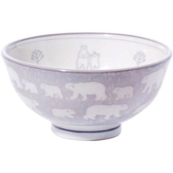 みのる陶器 白くま 軽量茶碗 中 グレー