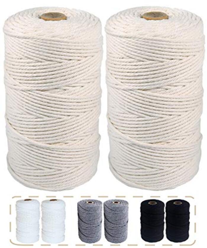 マクラメ ロープ 紐 糸 ナチュラルコットン 直径約3mm (アイボリー, 200m×2個)