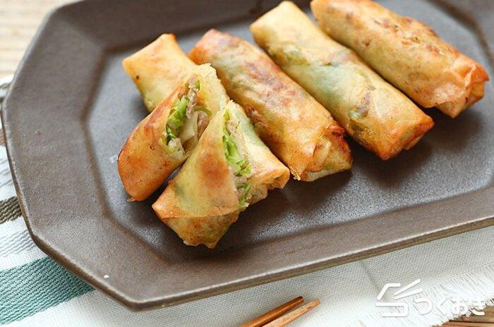 シンプルにおいしい、キャベツの塩春巻きのレシピ。具には旨塩味で炒めたキャベツと豚肉、春雨が入っていて、トロミもあって外側のパリッとした食感との組み合わせがとても良いです。