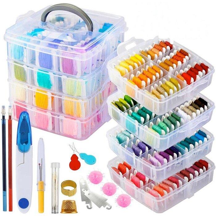 刺繍キット 刺繍糸 200色 刺繍道具 62 収納ボックス セット