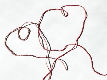 ほどいた刺繍糸の端と端を合わせ、半分→半分と2回重ねます。そして4重に重なった刺繍糸を、更に3つ折りにします。
