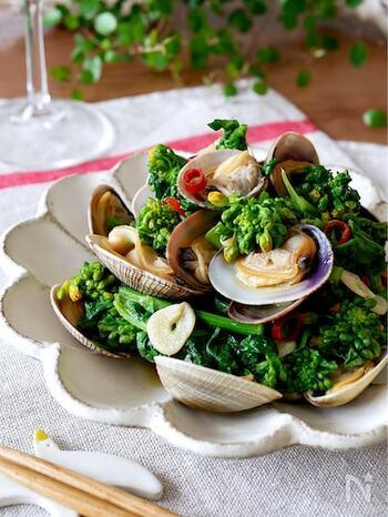 イタリア語でニンニクと油を意味するアーリオ・オーリオ。ニンニクとオリーブオイルがあれば簡単に作ることができます。  こちらはあさりと菜の花のアーリオ・オーリオ。味付けは醤油を使って和風に仕立て。洋食も醤油を加えることで和風になり、白ごはんのおかずにぴったり。