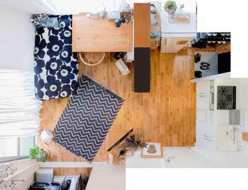 天井近くまで高さのある棚を置くことで、収納と目隠しを両立している実例。大きめのデスクを置いていますが、狭く見えない配置&アイテム選びが素晴らしいですね。