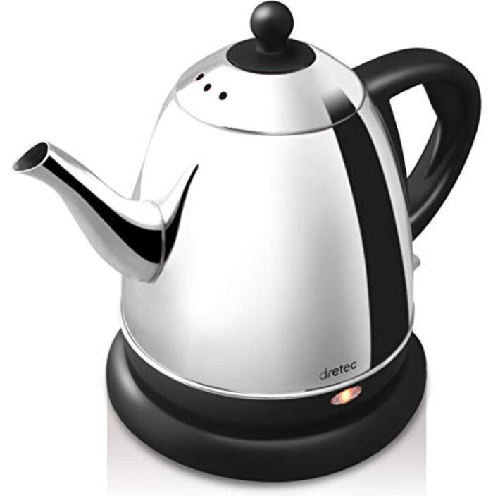 dretec(ドリテック) 電気ケトル ステンレス コーヒー ドリップ ポット 細口 湯沸かし 0.8L(ブラック)