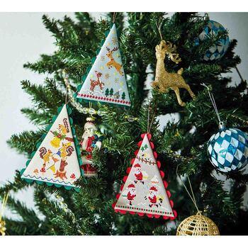 クリスマスを楽しむ動物たちやサンタクロースのデザインが可愛い、クリスマスオーナメントが作れるフェリシモのキット。絵本のワンシーンのような図案は、作りながら思わずワクワク楽しい気持ちになれます。