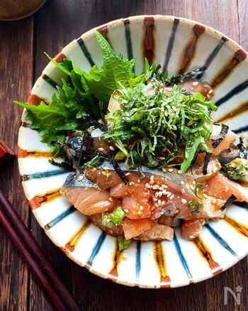 さば専用の日本酒が造られるほど、さばと日本酒の相性はよしとされています。そんなさばをごま醤油だれに和えた、シンプルで上品なお味。「また食べたい!」と思わせられる絶品おつまみです。