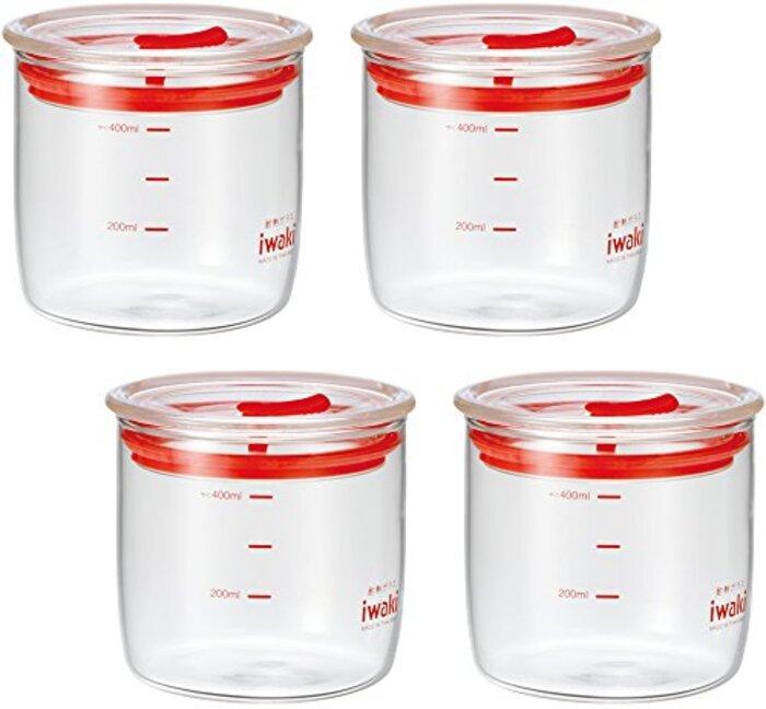 iwaki(イワキ)耐熱ガラス 密閉容器 キャニスター ×4個セット