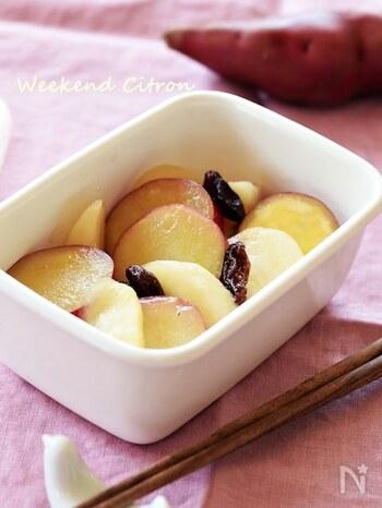 サツマイモ・りんご・はちみつ、甘いものがいろいろ組み合わさったスイーツみたいな一品。これならきっと全部食べてくれそう。