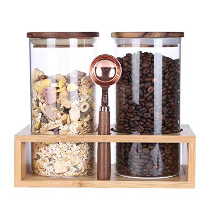 KKC ガラス製コーヒー豆保存瓶  2個 (竹製ラックと スプーン)