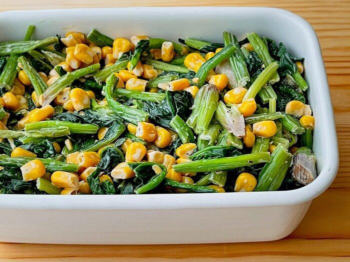 やみつきドレッシングで、体にいい緑黄色野菜のほうれん草をたくさん食べてもらいましょう♪汁気をよく切って入れてくださいね。