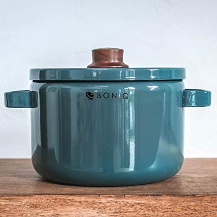 BONIQ ホーロー鍋 キャセロール 22cm 5.6L (スモーキーブルー)