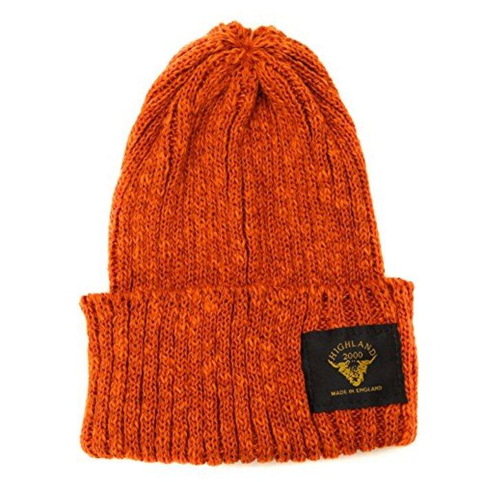 [ハイランド2000/HIGHLAND2000] ニット帽 英国製 リブニットワッチキャップ ニットキャップ メンズ レディース (オレンジ)