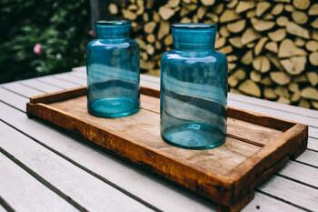 ・ジャムの空き瓶 ・湯煎用のトレー ・湯煎用のビーカー ・芯を支えるための割りばし