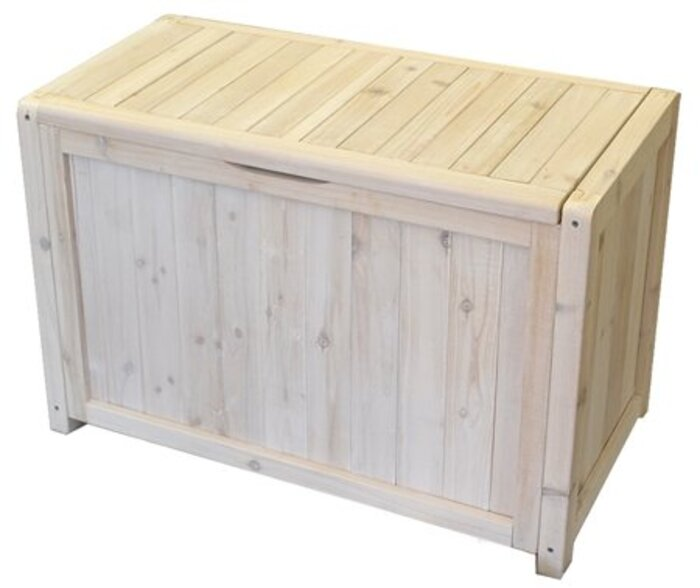 ガーデンガーデン 天然木製ベンチボックス ウォッシュホワイト 幅80cm×奥行31cm×高さ50.5cm