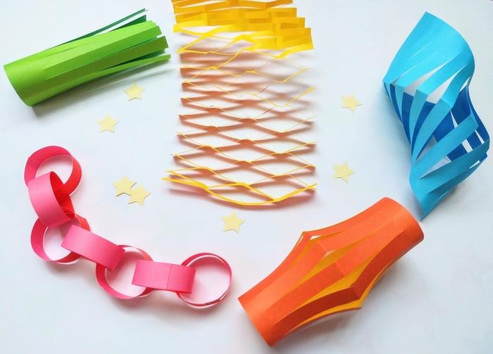 緑:吹き流し、黄色:網飾り、青:貝飾り、オレンジ:ちょうちん、ピンク:輪つづり