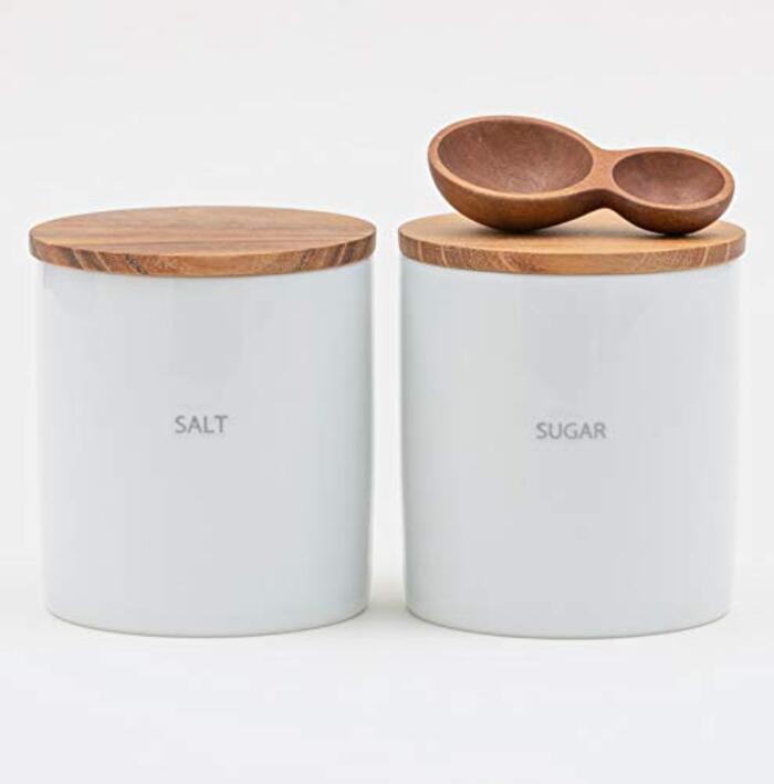 LOLO 保存容器 キャニスターセット BS08 日本製 陶器 SALIU チーク (SET SALT-SUGAR-大さじ小さじ)