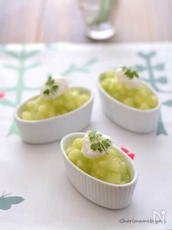 アンデスメロン1/2個でできる、ひんやり簡単デザート。メロンの果肉がゴロゴロで、プチ贅沢気分を味わえます。