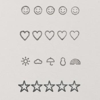 デザインは、星、ボックス、ハート、スマイル、天気の5種。ノートや手帳をキュートに彩ってくれます。