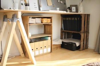 机の片側だけ、ソーホースブラケットで作った馬脚を使用。机のもう片方の脚は・・・木箱を活用しているDIYテーブルです。  もともと家にある木箱を使えば、もっと材料費が浮きますよね◎