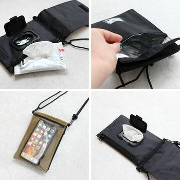 取り出し口付きなのでウエットティッシュを使いたい時すぐにサッと取り出すことができます。外側のポケットはダストボックスとして使用できる優れもの。中が防水仕様になっているので、湿ったままのティッシュを入れても水分がしみてこないのがうれしいポイント。背面はクリアなポケットで、スマホを中に入れたまま非接触で操作することも可能です。