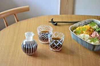 """東京のガラス老舗メーカー「廣田硝子」の大正浪漫シリーズのそば猪口。ちょうどいいサイズで多用しやすいガラスの器です。大正時代に盛んだった""""あぶり出し""""という技法を復刻した特別な工芸ガラス。ガラスの中に特殊な原料を入れ、急激な温度差を与えて乳白色にします。"""
