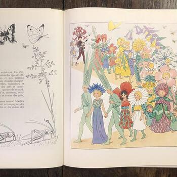 エルサ・ベスコフはスウェーデンを代表する絵本作家。可憐な花たちが纏う衣装は、どれもその花の雰囲気を生かしており、ベスコフの想像力に圧倒されます。ページを捲れば、妖精たちのミュージカルを見ているような楽しい時間のはじまりです。  ※こちらのイメージは英語版のものです。