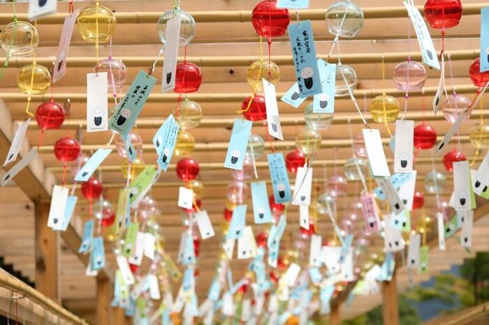 見上げると風鈴の天井が!思わず写真を撮りたくなってしまう清涼感たっぷりの風景が広がっています。宝徳寺には、「ほほえみ地蔵」や「なで地蔵」などの優しい表情をしたお地蔵さまがいて、短冊にも描かれているんです。