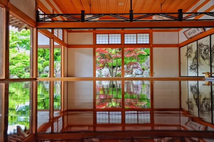 7月31日~8月8日、9月1日~9月12日は夏の床もみじが特別公開されます。床に映り込むもみじはなんとも幻想的な美しさ。風鈴と一緒に特別公開される床もみじも観賞してみてください。