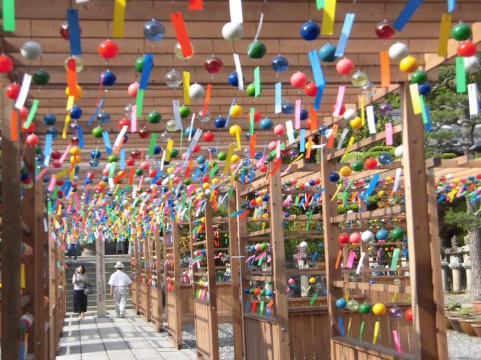 山門から本堂に続く「風鈴の小道」には、約2,000個の風鈴が吊るされています。吊るされているのは、ひとつひとつ手作りされている江戸風鈴で、それぞれ音色が微妙に異なるのが特徴。静かに目をつぶって、風鈴の音色をじっくりと味わいたいですね。