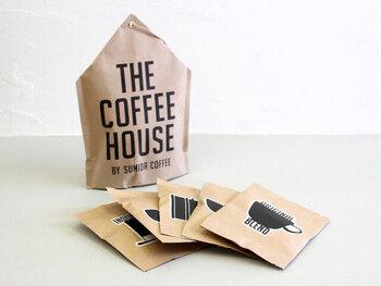最高品質のコーヒー豆を自家焙煎して、こだわりの味わいを作っている「スミダコーヒー」が手掛けるコーヒーバッグです。おうちの形をしたおしゃれなパッケージもかわいらしいです。
