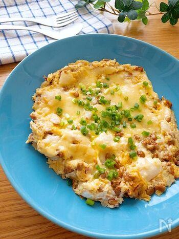 山芋×納豆×卵で栄養価満点。チーズも入って、お子様でも喜んで食べてくれること間違いなしの一品です。今日は頑張りたい日の朝ごはんにも♡