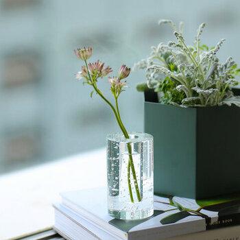 ガラスの花瓶を飾るときは、重量のある安定したものを選べば、そのままオブジェとしても使えます。花を活けても、活けなくても。あるいは読書中、ちょっと目を離すときに栞代わりにペーパーウェイトとして使っても。