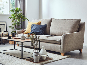 シンプルなフレームにボリュームのあるクッションがついたソファ。大きいクッションがインテリアのアクセントとなりおしゃれですよね。クッションを自分好みに動かしてくつろいでもいいかも◎。