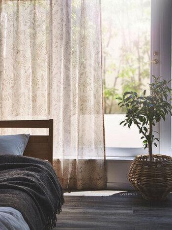 透け感が美しいレースのカーテンは、光を楽しむためのマストアイテム。外からの目隠しの機能だけではなく、お部屋から窓を眺めたときにも心地よくなるように、お気に入りの一枚を探しましょう♪