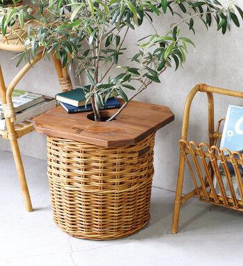 プランターの鉢にのせてテーブルのように使えるプランターカバー。ベランダで読書しながらコーヒーを…なんていうときに、本やカップをチョイ置きするのに便利です。