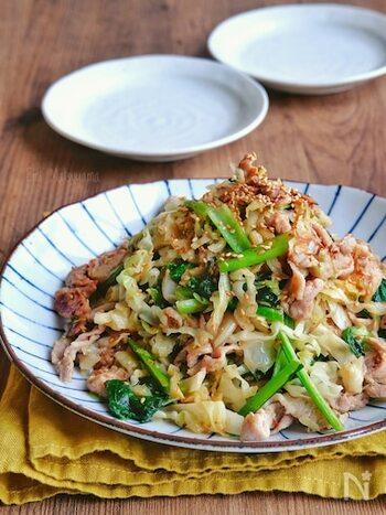 こちらは、油のかわりにマヨネーズで炒めたレシピ。キャベツの細切りの食感を活かした、食べ応えのあるレシピです。小松菜で作っていますが、ほうれん草でアレンジしても◎