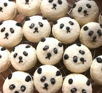 マカロンから手作りするレシピですが、フレンチメレンゲを使うので意外と手軽に作れます。パンダの表情と、毛並みのモコモコ具合がなんとも愛らしいですね。
