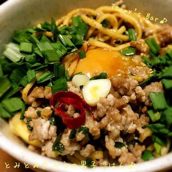 インスタント麺を台湾まぜそばにアレンジ。台湾ミンチを作って冷凍しておけば、時間がないときにもおいしい台湾まぜそばがささっと用意できます。