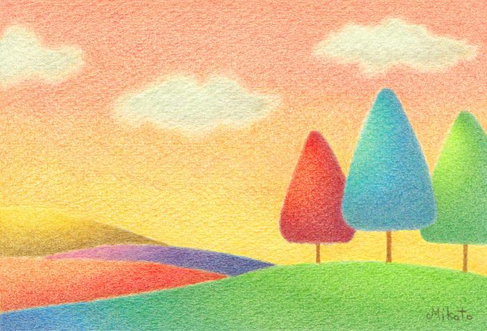 「夕日の丘」と題されたこの画は美しいグラデーションがつけられていて温かみがありますね。夕日の当たり具合も綺麗に表現されています。