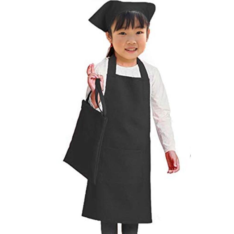 ベーシックスタンダード【Amazon.co.jp限定】子ども用エプロン ブラック 100~120 cm Sサイズ (本体、三角巾、ポーチ 3点セット)