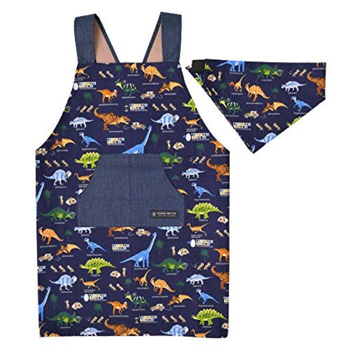 バッククロスエプロン100-120 三角巾付き 子供用(ネイビー) N7901410
